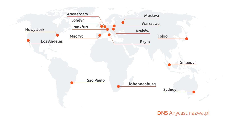 nazwa.pl uruchomiła globalną sieć serwerów DNS Anycast.