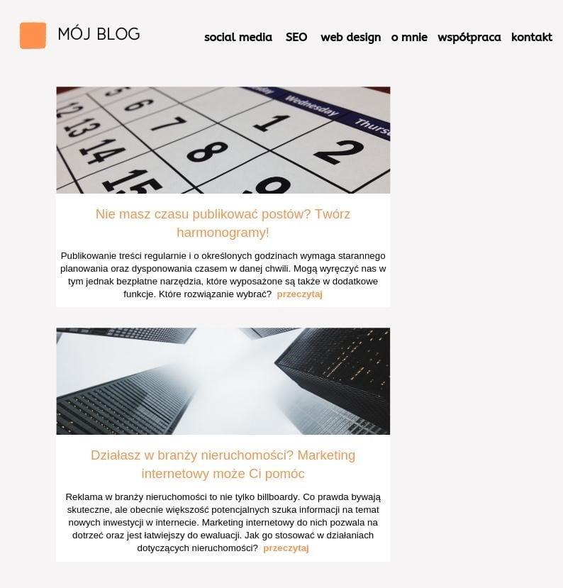 posty na stronie głównej bloga
