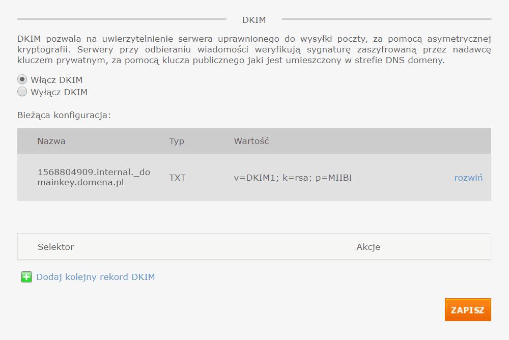 DKIM (ang. DomainKeys Identified Mail)