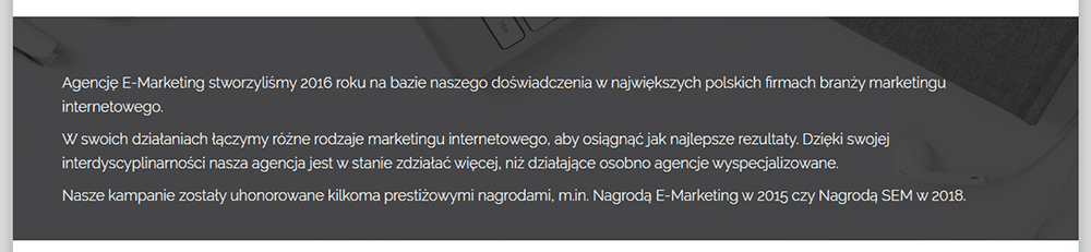 Opis firmy na stronie głównej firmowej strony internetowej to podstawa. Sprawdź jak napisać ciekawy opis firmy na blogu nazwa.pl.