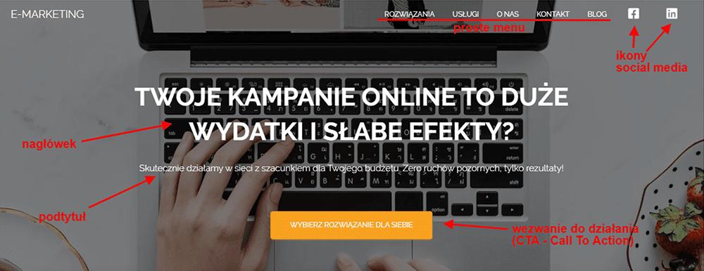 Jak zaprojektować stronę główną? Dowiedz się na blogu nazwa.pl jak powinna wyglądać treść above the fold na internetowej strony wizytówki.
