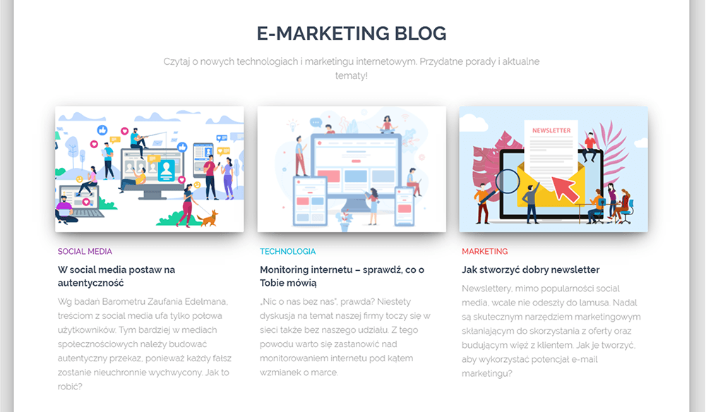 """Blog nastronie toźródło informacji dla użytkowników oraznarzędzie doSEO icontent marketingu. Sprawdź nablogu nazwa.pl jak przygotować zakładkę """"wpisy zbloga"""" nastronie głównej."""