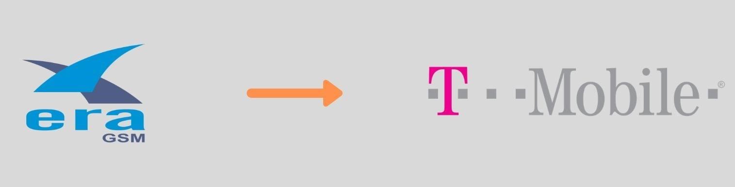 W przypadku połączenia dwóch sieci komórkowych Era i T-Mobile zostało wykorzystane logo T-Mobile. Czytaj więcej na blogu nazwa.pl.