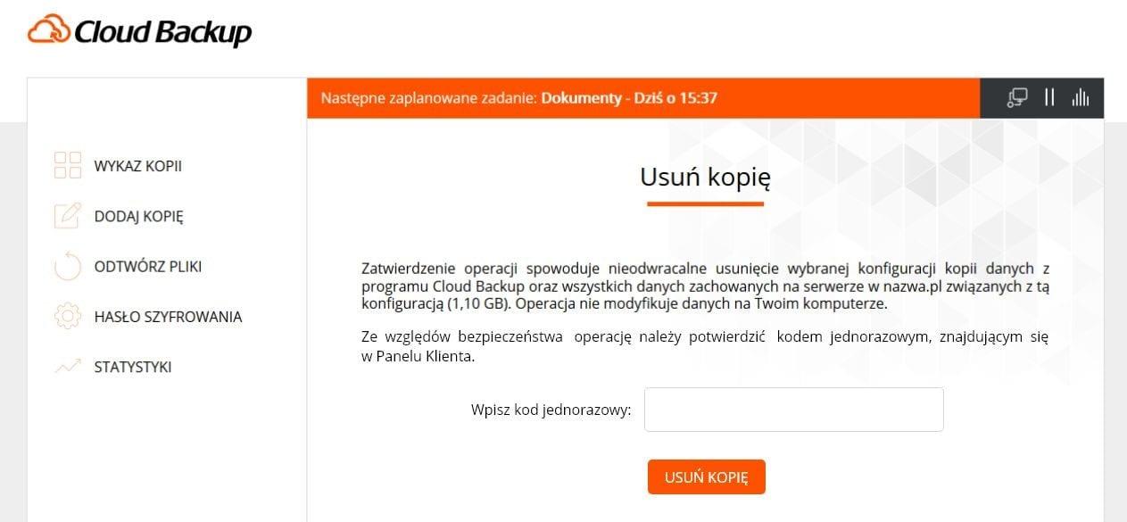 """Nowy Cloud Backup odnazwa.pl - Widok zakładki """"Usuń kopię"""" waplikacji."""