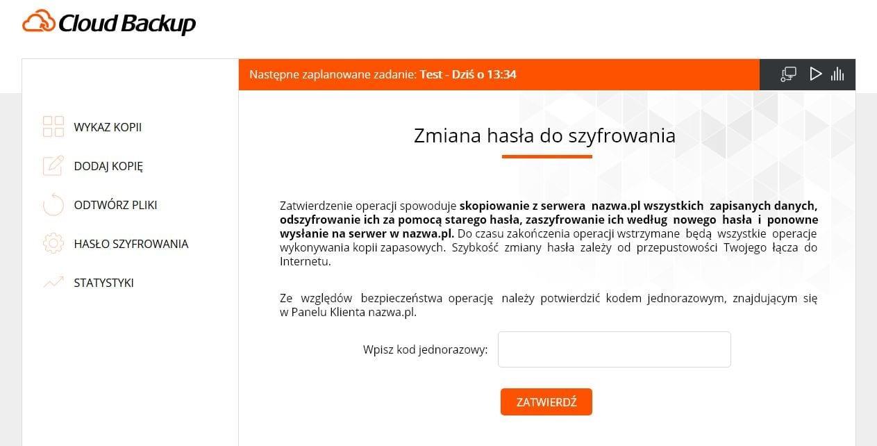 """Nowy Cloud Backup odnazwa.pl - Widok zakładki """"Zmiana hasła doszyfrowania"""" waplikacji."""