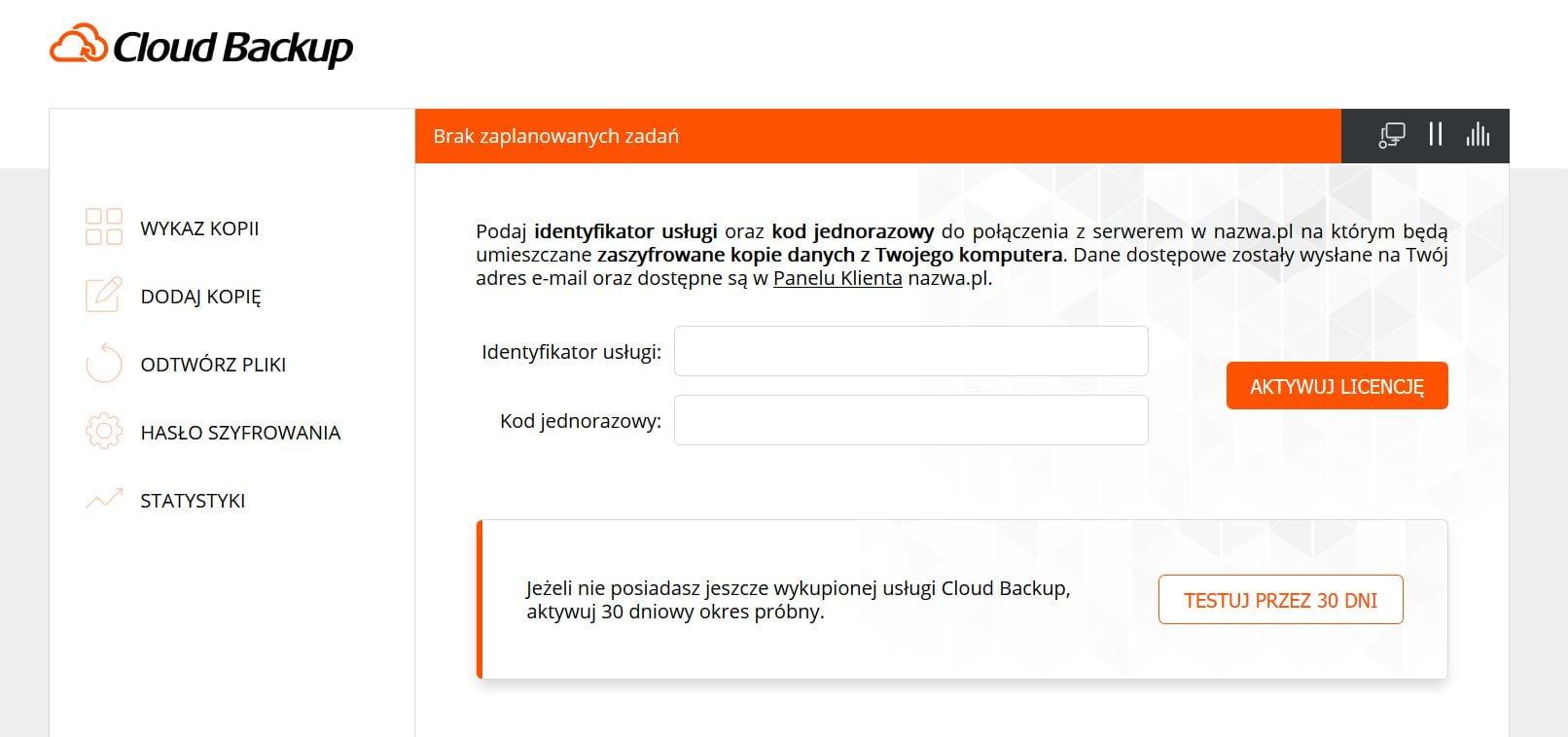 Podgląd programu Cloud Backup odnazwa.pl
