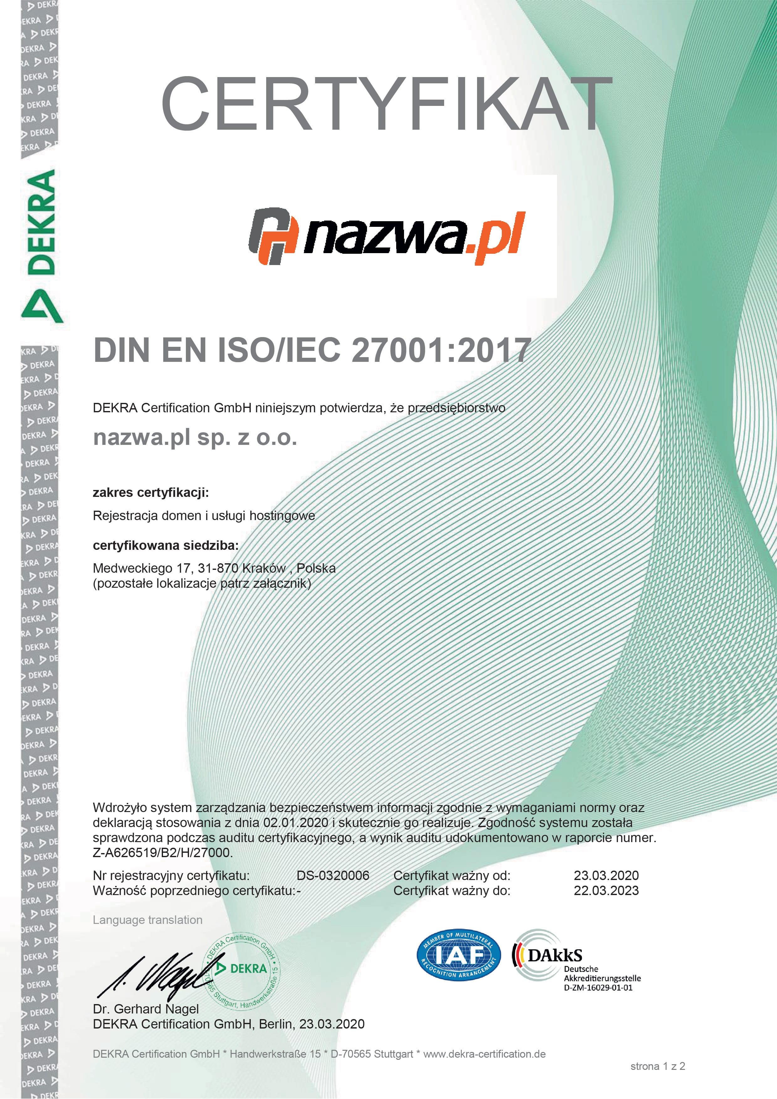 Certyfikat DIN EN ISO/IES 27001:2017 dla nazwa.pl