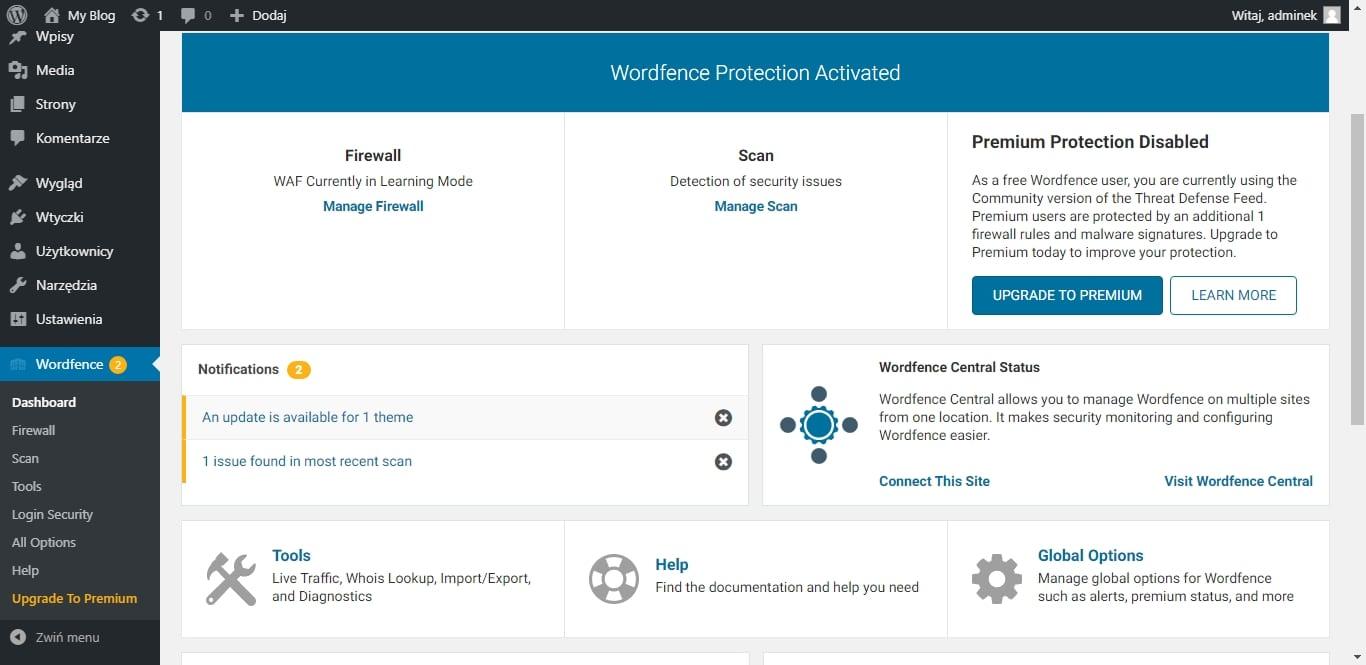 Podnoszenie bezpieczeństwa WordPress - wordfence protection
