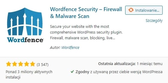 Podnoszenie bezpieczeństwa WordPressa - instalacja wordfence