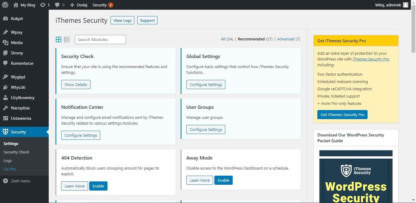 Podnoszenie bezpieczeństwa WordPressa - ithemes security