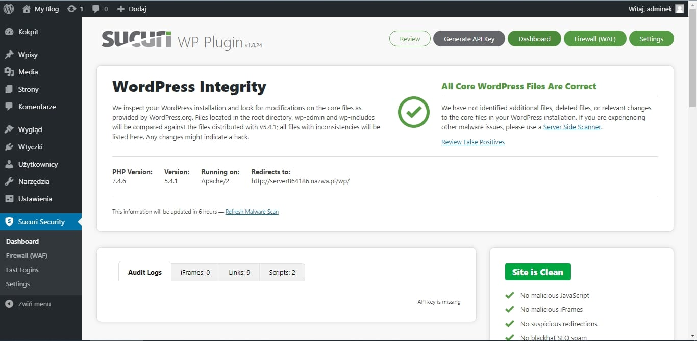 Podnoszenie bezpieczeństwa WordPressa - sucuri