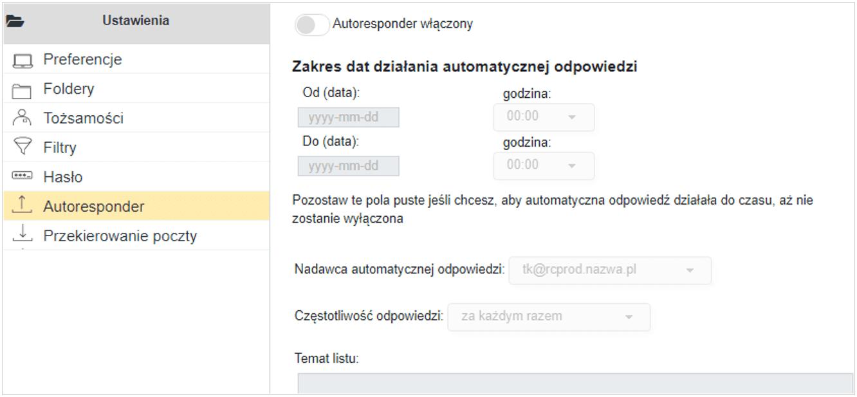 Autoresponder Cloud Mail  nazwa.pl