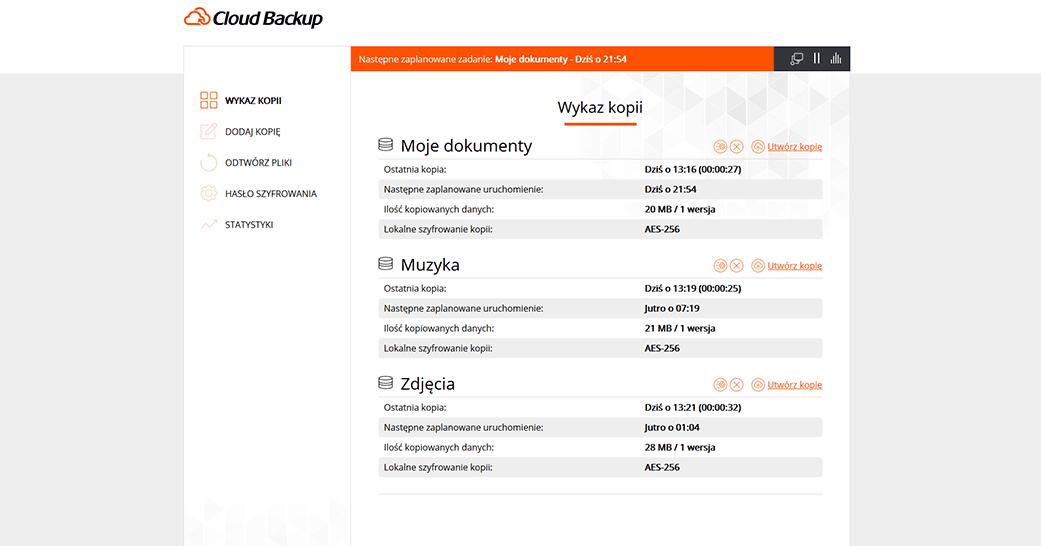 Cloud Backup odnazwa.pl - Wykaz kopii zapasowych