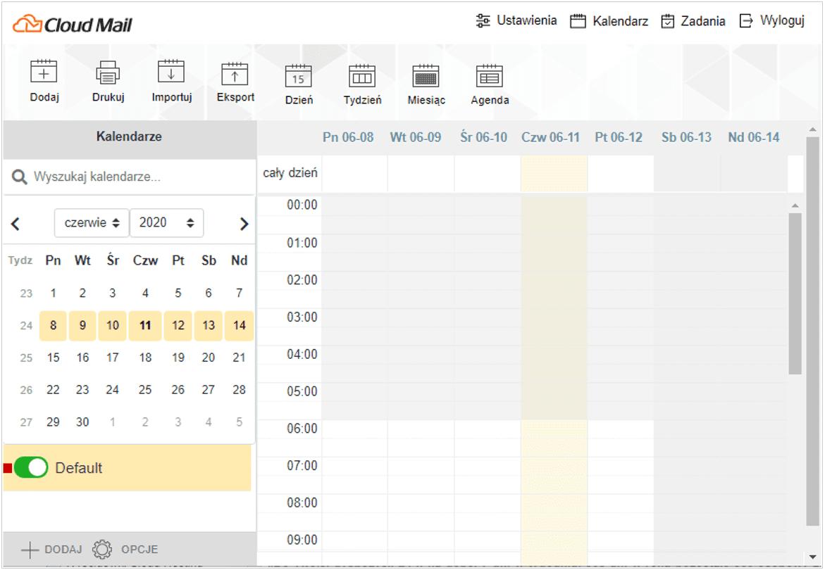 Okno Kalendarza Cloud Mail od nazwa.pl