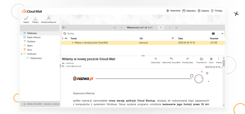 Cloud Mail odnazwa.pl - podgląd programu pocztowego