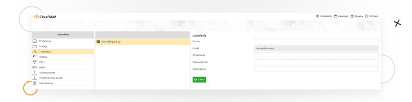 Cloud Mail odnazwa.pl - ustawienia tożsamości użytkownika