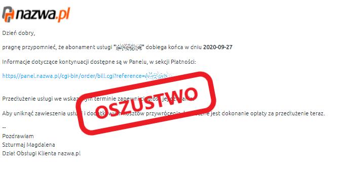 Przykład fałszywego maila wyłudzającego dane odużytkownika | nazwa.pl