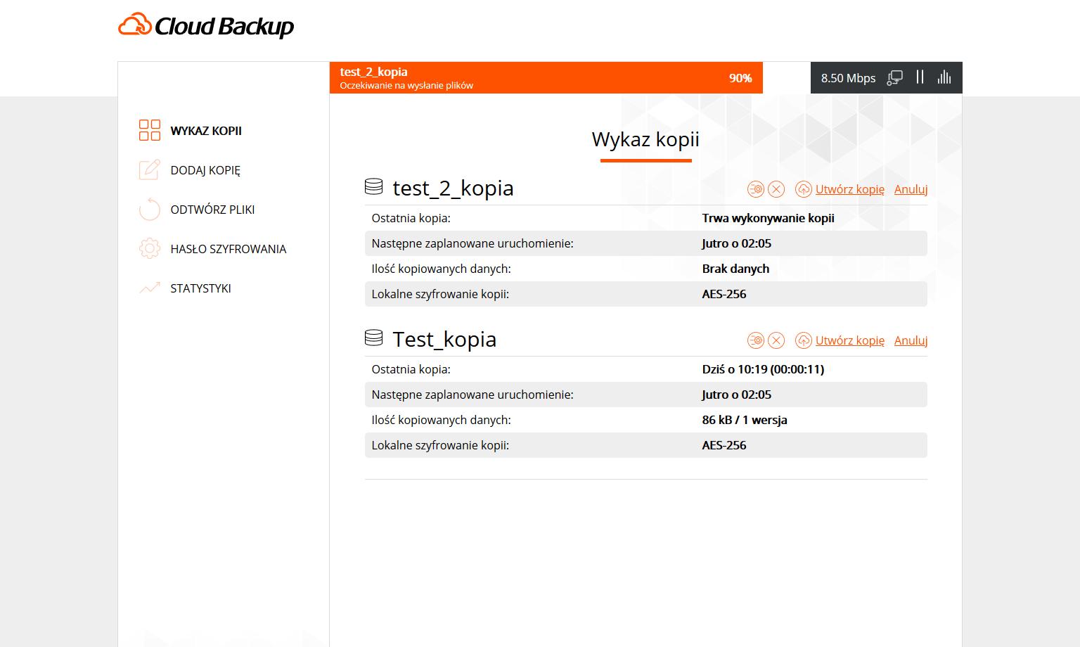 Podgląd aplikacji Cloud Backup odnazwa.pl