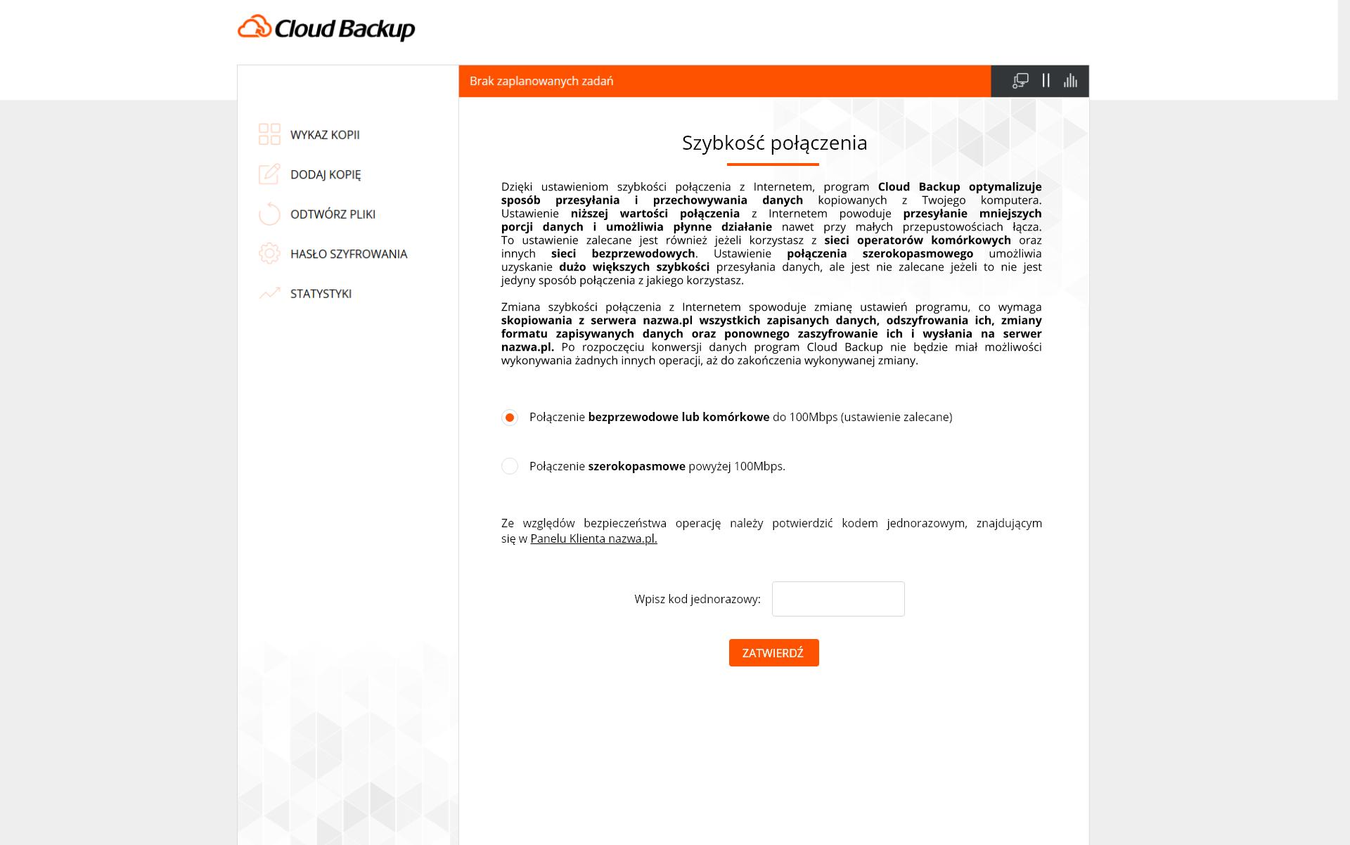 Szybkość połączenia wprogramie Cloud Backup wnazwa.pl