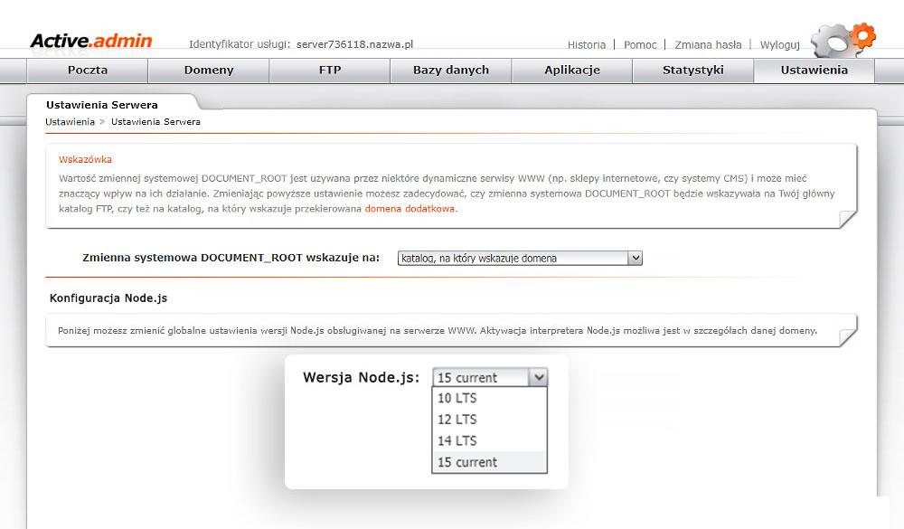 Wybór wersji Node.js nahostingu nazwa.pl