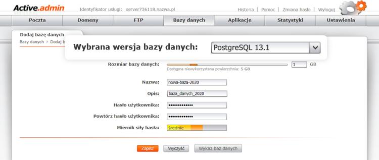 Wybór wersji bazy danych PostgreSQL nahostingu wnazwa.pl
