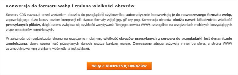 Włączenie opcji optymalizacji obrazów naserwerach nazwa.pl