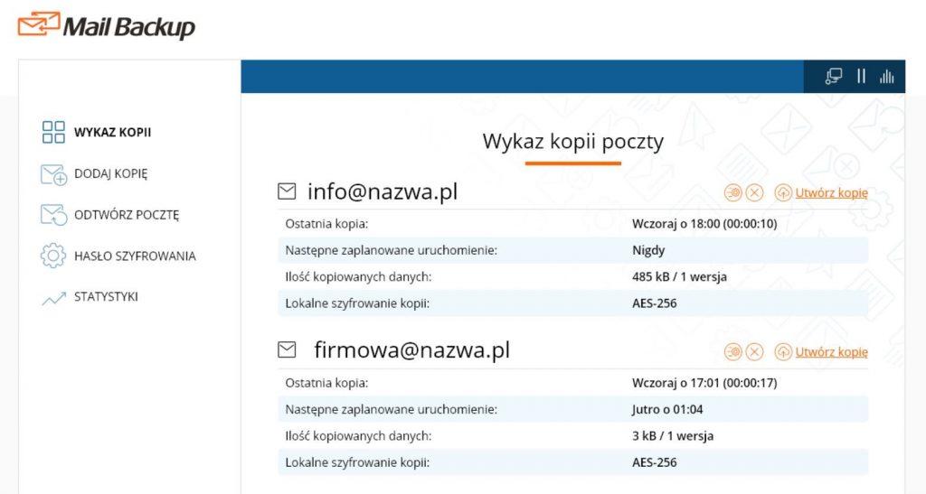 Aplikacja Mail Backup nazwa.pl