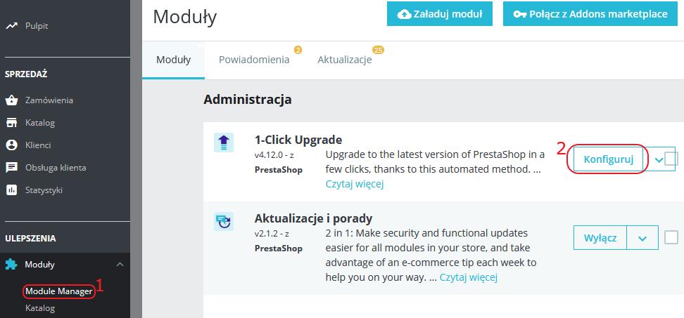 konfiguruj 1-click upgrade