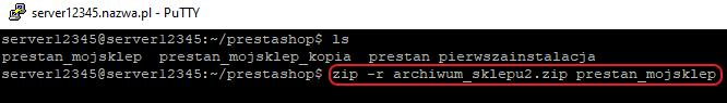 ssh pakowanie zip