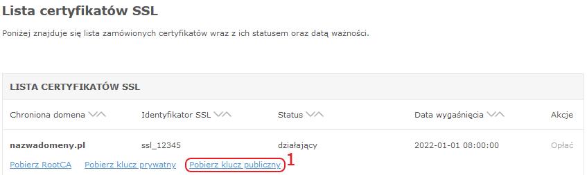 certyfikaty ssl klucz publiczny