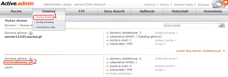 intalacja presta wykaz domen