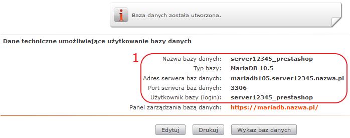 instalacja presta dane bazy