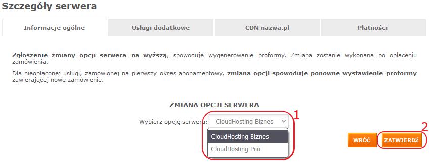 pk cloudhosting zmiana opcji