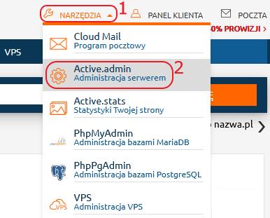 Panel Klienta menu gorne narzedzia Active.admin
