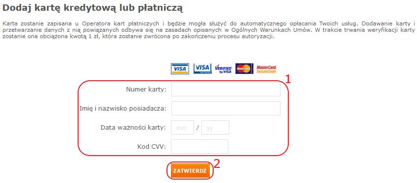 dodawanie karty platniczej dopk